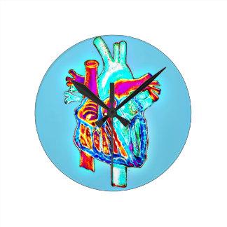 Neon Hand Drawn Anatomical Heart Clocks