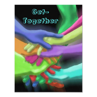 NEON HANDS STACKED GET-TOGETHER PARTY INVITATION