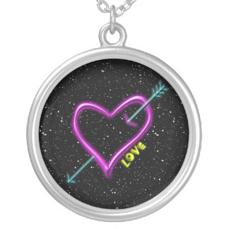 Neon Heart Silver Plated Necklace