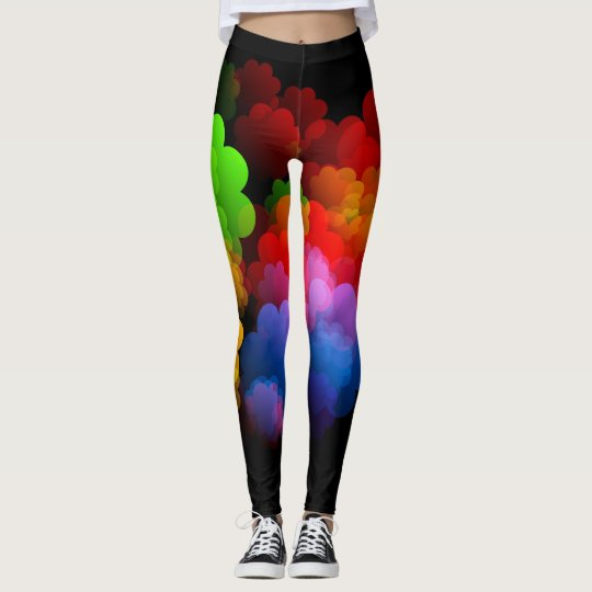 Neon Hearts and Flowers Leggings