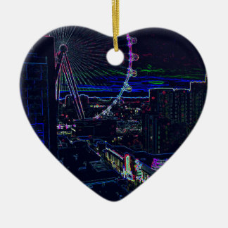 Neon High Roller Ferris Wheel Abstract Vegas Ceramic Ornament