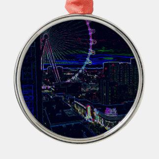 Neon High Roller Ferris Wheel Abstract Vegas Metal Ornament