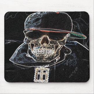 Neon Hip Hop Skull Mousepad