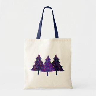 Neon Holiday Trees Tote Bag