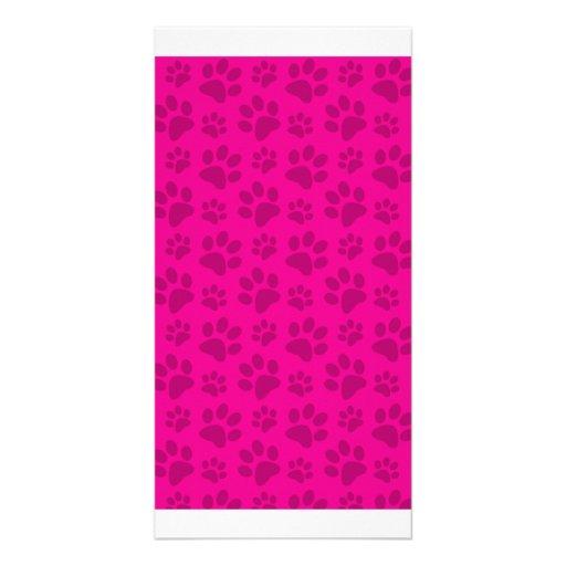 Neon hot pink dog paw print pattern customized photo card
