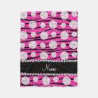 Neon hot pink glitter zebra stripes volleyballs fleece blanket