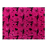 Neon hot pink gymnastics glitter pattern