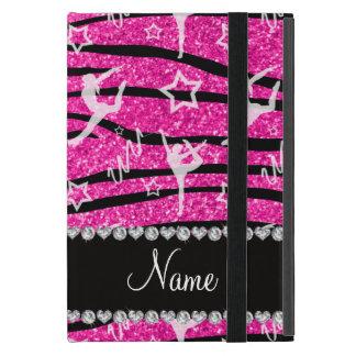 Neon hot pink gymnastics glitter zebra stripes cover for iPad mini