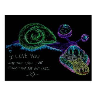Neon I Love You Snail Postcard