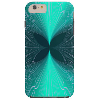 Neon Ice Blue Futuristic Cyber Abstract Lasers Tough iPhone 6 Plus Case