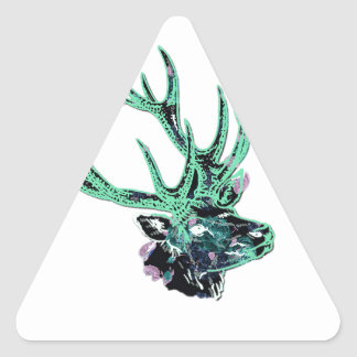Neon Inverted Green and Purple Floral Stag Head Triangle Sticker