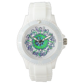 Neon Jellyfish Yoga Mandala Art Wrist Watch