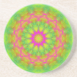Neon Kaleidoscope Beverage Coasters