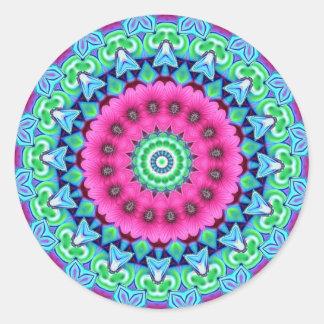 Neon Kaleidoscope Design Classic Round Sticker