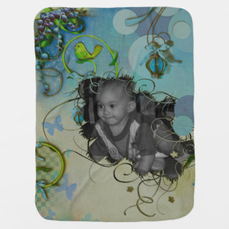 Neon Khaki Dawn Photo Frame Baby Blanket