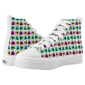 Neon ladybugs pattern Zipz high top sneakers