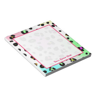 Neon Leopard Personalized Notepad