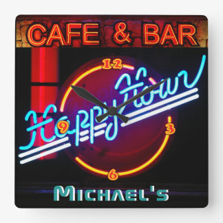 Neon Light BAR CAFE Personalized SIGN ManCave Square Wall Clock