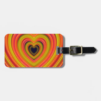 Neon Lighted Girly Heart Design Luggage Tag