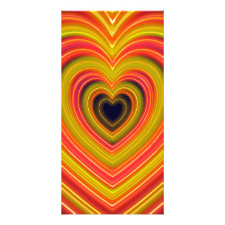Neon Lighted Girly Heart Design Picture Card