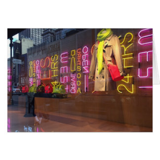 Neon Lights Department Store Window New York NYC Card