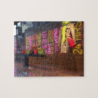 Neon Lights Department Store Window New York NYC Jigsaw Puzzle