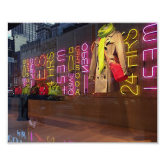 Neon Lights Department Store Window New York NYC Poster