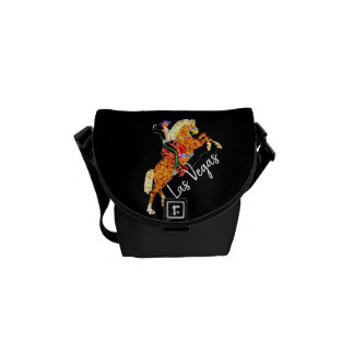 Neon Lights Las Vegas Man on Horse Equestrian Courier Bag
