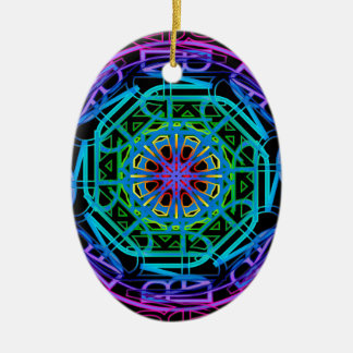 Neon Lights Mandala Design Ceramic Ornament