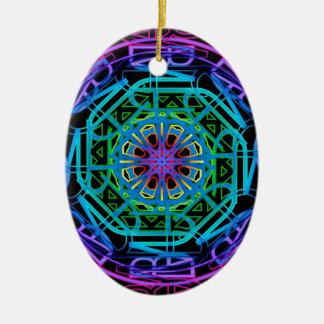 Neon Lights Mandala Design Ceramic Ornament