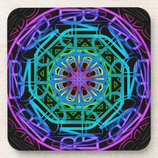 Neon Lights Mandala Design Coaster