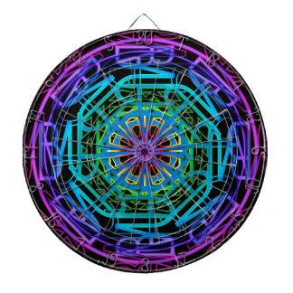 Neon Lights Mandala Design Dartboard