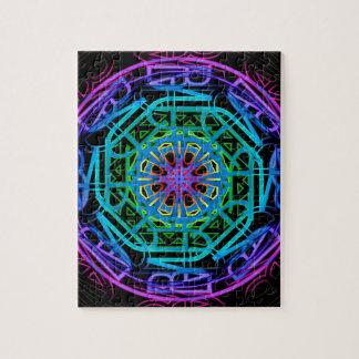 Neon Lights Mandala Design Jigsaw Puzzle