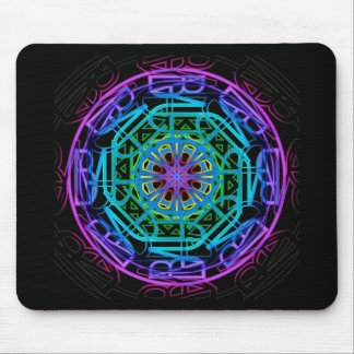 Neon Lights Mandala Design Mousepad