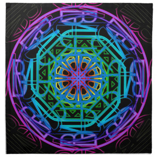 Neon Lights Mandala Design Napkin