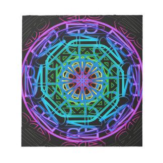 Neon Lights Mandala Design Notepad