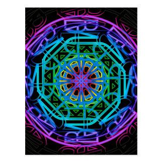 Neon Lights Mandala Design Postcard