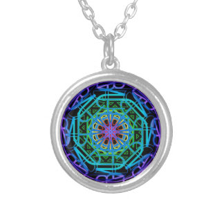 Neon Lights Mandala Design Silver Plated Necklace