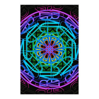 Neon Lights Mandala Design Stationery