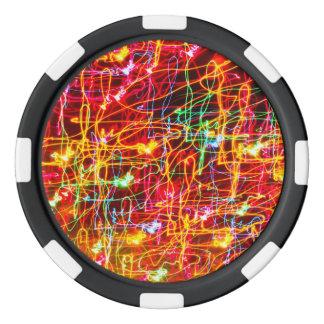 Neon lights multicoloured set of poker chips