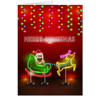 Neon Lights Santa and Rudolph Christmas Card