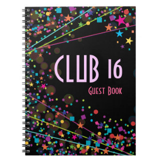 Neon Lights Sweet 16 Club Party Guest Book