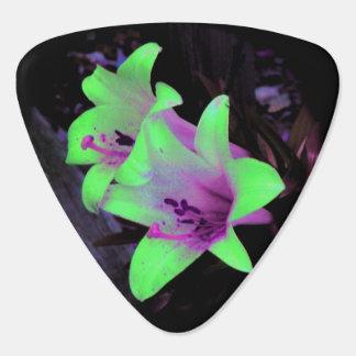 Neon Lilies Photograph Guitar Pick