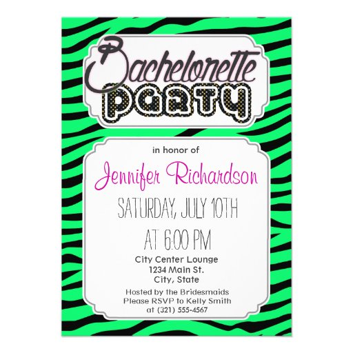 Neon Lime Green and Black Animal Print Zebra Personalized Announcement