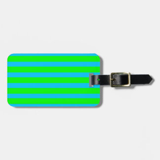 Neon Lime Green and Teal Blue Stripes Luggage Tag