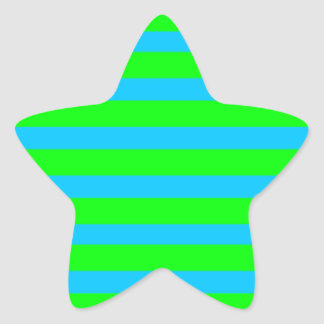 Neon Lime Green and Teal Blue Stripes Star Sticker