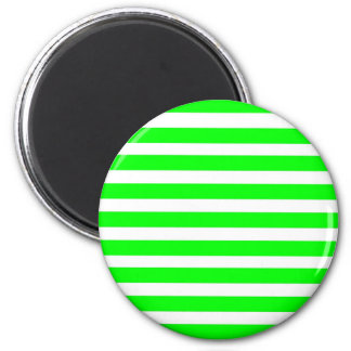 Neon Lime Green and White Stripes Pattern Novelty 2 Inch Round Magnet