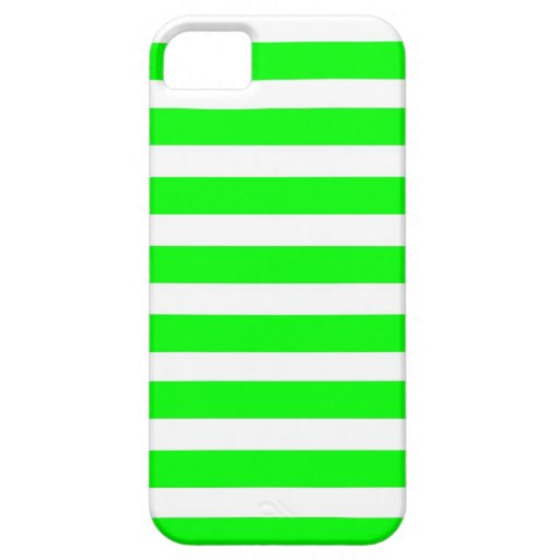 Neon Lime Green and White Stripes Pattern Novelty iPhone 5 Cover
