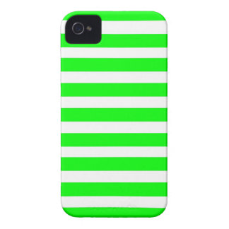 Neon Lime Green and White Stripes Pattern Novelty iPhone 4 Covers