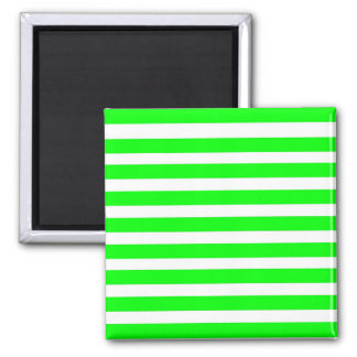 Neon Lime Green and White Stripes Pattern Novelty Fridge Magnets
